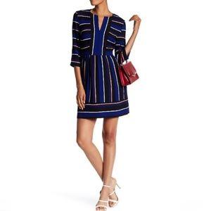 Charles Henry Striped Half-Sleeve Mini Dress